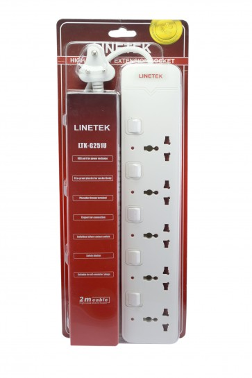 Wholesale Linetek Power Extension Board 5 socket with 2 USB port 2 meter length Cable LTK-G251U