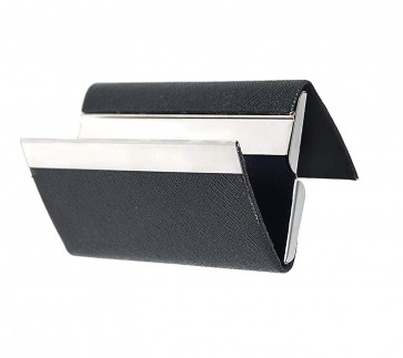 RiaTech Leather and steel Business Card Case with Magnetic Shut To Keep credit Cards - black
