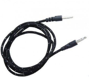 Wholesale 3.5mm Male To Male Woven Fabric Cotton Aux Audio Cable 1M - Black