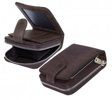 Storite 11 Slot Leather Credit/Debit Cards Zipper Wallet with 3 ID Window for Men & Women- Dark Brown