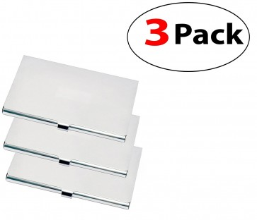 RiaTech 3 Pack Stainless Steel ATM/Visiting / id Card/Credit / Debit Card/Business Card case – Sliver