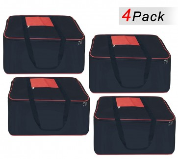 Storite Set Of 4 Big Underbed Storage Bag-(54 x 46 x 28 cm) -Black