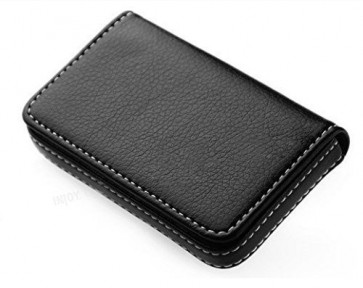 Wholesale Stylish Pocket Sized Stitched Leather Visiting Card Holder for Keeping Business Cards, Debit Cards, Credit Cards and more - Leather Black