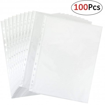 RiaTech 100 pcs document sleeves a4 transparent sheet protector 11 holes ring file