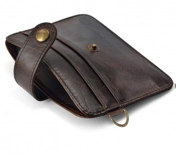 Storite Slim Leather Credit/Debit Card Case Holder Wallet with Key Ring