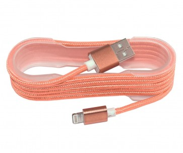 Wholesale USB 2.0 IPhone 5/6/7 Charging And Cotton braided cable- Orange