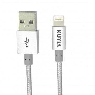Apple MFi Certified 1m Nylon Braided Lightning Cable for iPhone, iPad and iPod, Super-fast Charging up to 2.4Amps-Silver