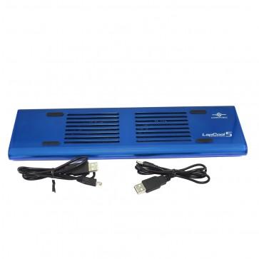Wholesale Vantec LapCool 5 Compact Size Aluminum Notebook Cooler w/2 80mm Fans & 3 Port USB Hub - Blue