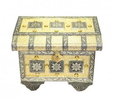 Golden colour Raj wadi Pitara style wooden handmade Bangle & Jewellery box with Mirror for Women (22x16.5x15 cm)