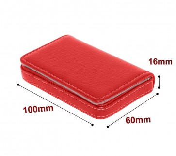 Wholesale Stylish Pocket Sized Stitched Leather Visiting Card Holder For Stylish Women - Cherry Red