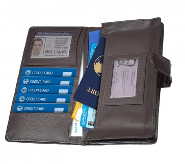 RiaTech Travel Passport/Chequebook Holder Personal Organiser Kit for Passport, Bank Cards Tickets Currency Travel Wallet for Men and Women - Brown