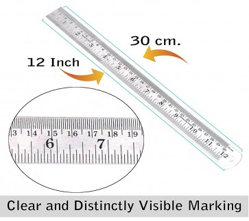 Wholesale Stainless Steel Ruler 12 inch / 30 cm Straight Measuring Tool with Conversion Table