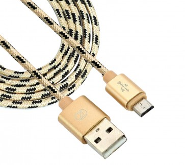 Nylon Braided  Long USB 2.0 Micro Fast Charging Data Transfer Cable 2.4A for Smartphones - 1m
