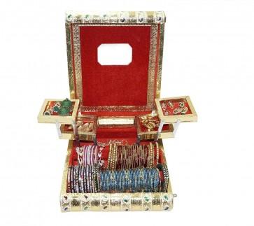 Storite Rajwadi traditional handmade wooden Meenakari /velvet jewellery box organizer / holder / bangle box/ Vanity box with mirror  (12x10x3.5 inch)