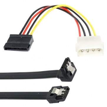 Storite Sata 3 Data cable with 90 Degree Latch + 4 Pin Molex to 15Pin SATA Power Cable (Combo)