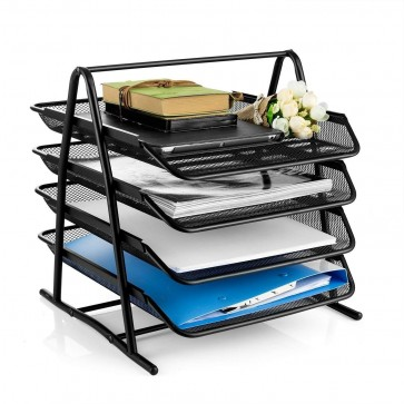 Storite 4-Tier File Document Letter Paper Tray Sorter Collection Office Desktop Organizer Holder Shelf Metal Mesh Black
