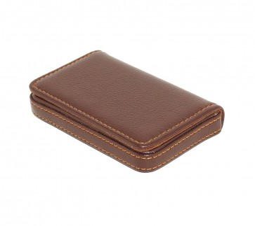 Wholesale Stylish Pocket Sized Stitched Leather Visiting Card Holder ( Coffee Brown)