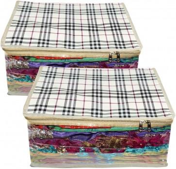 Storite 2 Pack Rexine Waterproof Fabric Large Size Transparent Saree Cover Set Wardrobe Organizer - 17X13X9 inch