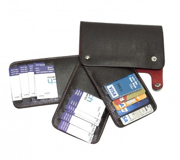 Wholesale 15 Slots Pu Leather Wallet Credit Debit And Visiting Card Holder For Men Women- Coffee Brown
