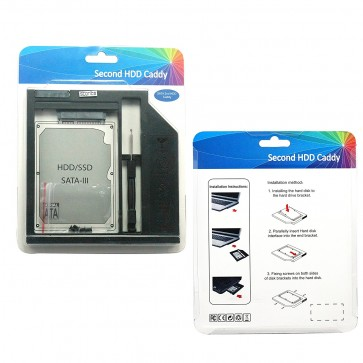 Wholesale 9.5mm Universal SATA 2nd HDD SSD Hard Drive Plastic Caddy for CD/DVD-ROM Optical Bay