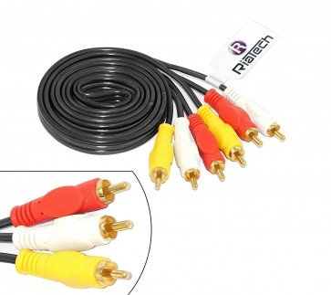 Riatech Gold Plated 3 Rca Male To Male Composite Audio Video Av Cable Tv Lcd Led DTH