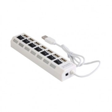 7 Ports USB 2.0 Hi-Speed Usb Hub With Individual On/Off Switches -White