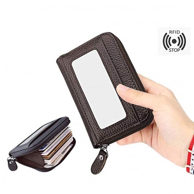 the latest 41617 59c7a Storite RFID Blocking 10 Slot Horizontal Leather Credit/Debit Zipper Card  Holder Wallet (Brown)