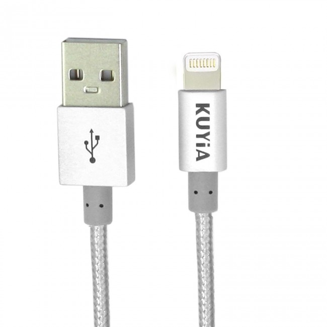 new style 17649 70ac6 Apple MFi Certified 1m Nylon Braided Lightning Cable for iPhone, iPad and  iPod, Super-fast Charging up to 2.4Amps-Silver