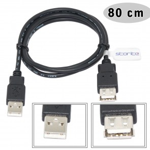 Wholesale USB 2.0 Extension Cable - A-Male to A-Female - Black - 80CM