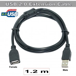 Storite USB 2.0 Male A To Female A Extension Cable Hi-Speed 480Mbps For Laptop/PC/Mac/Printers (120cm - 4Foot - 1.2M)