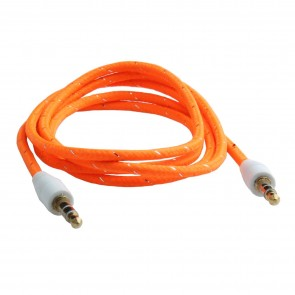Wholesale 3.5mm Male To Male Woven Fabric Cotton Aux Audio Cable 1M - Orange