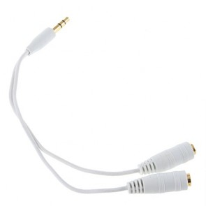 Wholesale 3.5mm Stereo Jack Splitter Cable 3.5mm Male to 2 x Female - White