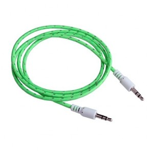 Wholesale 3.5mm Male To Male Woven Fabric Cotton Aux Audio Cable 1M - Flourescent Green