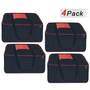 Storite Set Of 4 Big Underbed Storage Bag-(54 x 46 x 28 cm) -Black