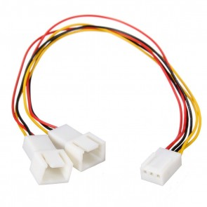 Wholesale 3 Pin to 2 x 3 Pin Computer Case Fan Y-Splitter Power Connector Adapter Cable