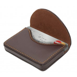 Storite Leather Pocket Sized Stitched Business/Credit /Debit Card Holder Wallet for Gift – Coffee brown