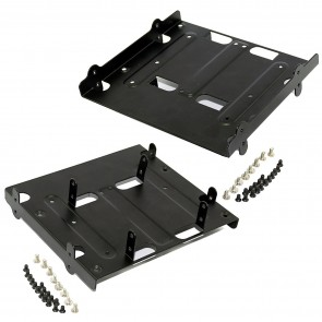 RiaTech 2.5 To 3.5 Dual Hard Disk Drive Metal Mounting Bracket Adapter Tray Kit Black (523)