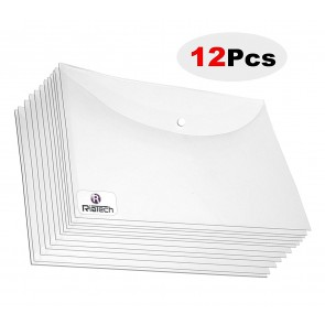 RiaTech 12 Pcs A4 PP Thick PP Clear Document Envelope Folder Organizer (Transparent)