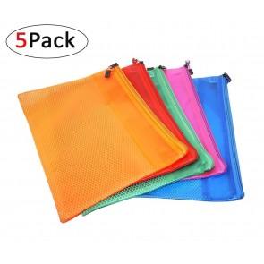 RiaTech 5 Pcs PVC Water-resistant Zippered Bag/ Storage Pouch, B5-24cmx16cm