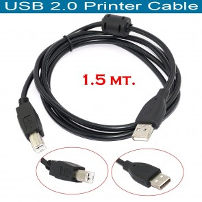 Wholesale USB 2.0 Printer Cable for HP, Canon, Epson, Kodak, Color Inkjet Printers - Black - 1.5M