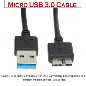 Wholesale USB 3.0 Cable - A Male to Micro B 30cm – Black