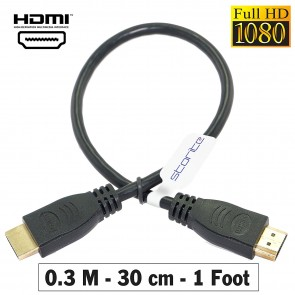 Storite HDMI 30 cm Cable TV Lead 1.4 High Speed Ethernet 3D Full HD 1080p - Support All HDMI Devices - Black