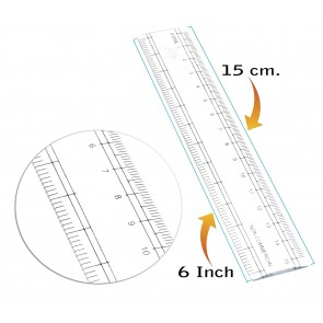Wholesale Plastic Ruler 6 inch / 15 cm Transparent Straight Measuring Tool for Student School, Office