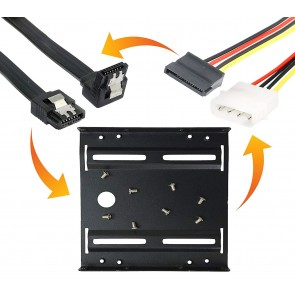 "Storite 2.5"" to 3.5"" SSD/HDD Mounting Kit Bracket + Sata 3 Data with 90 Degree Latch Cable + 4 Pin Molex to 15Pin SATA Power Cable"