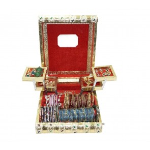 Storite Rajwadi traditional handmade wooden Meenakari /velvet jewellery box organizer / holder / bangle box/ Vanity box with mirror  (12x10x3.5 inch)