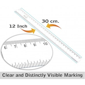 Wholesale Plastic Ruler Scale 12 inch / 30 cm Straight Measuring Tool for Student School, Office