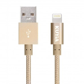 Apple MFi Certified 1m Nylon Braided Lightning Cable for iPhone, iPad and iPod, Super-fast Charging up to 2.4Amps-Golden