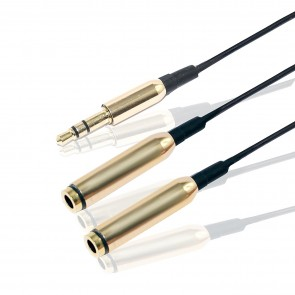 Wholesale 3.5mm Jack 1 Male to 2 Female Stereo Jack Splitter Cable - Golden/Black
