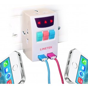 Wholesale LineTek 3 Pin MultiPlug Universal Socket 220V Individual Switches & 3 Sockets With 2 PortUSB