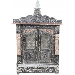 Storite Handcrafted German Oxidised Mandir with Aluminium and Copper Plating, Temple for Home (6 x10 Inches, Silver)